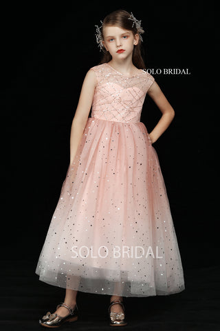 Gradient Pink Shiny Tulle Flower Girl Dress