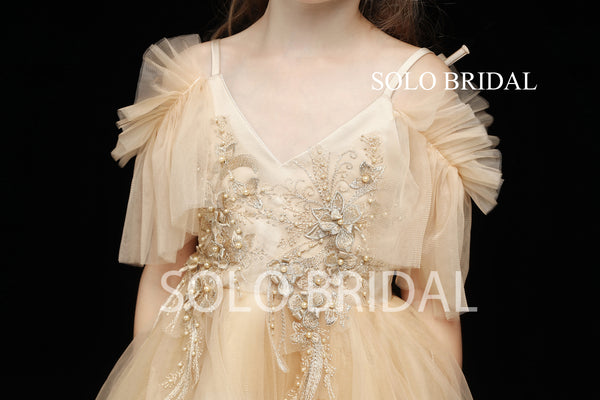 Gold Tulle Flower Girl Dress