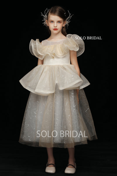 Shiny Champagne Flower Girl Dress