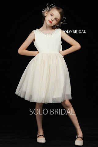 Ivory Round Bustline Flower Girl Dress with Bow