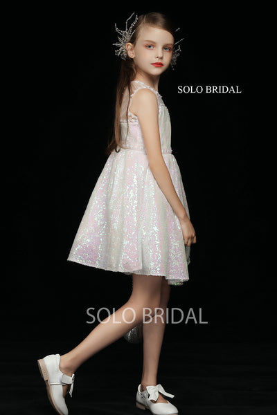 Pink Shiny Flower Girl Dress