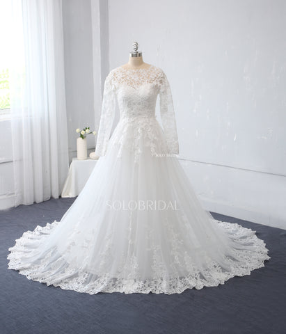 Ivory A Line Wedding Dress with Long Sleeves
