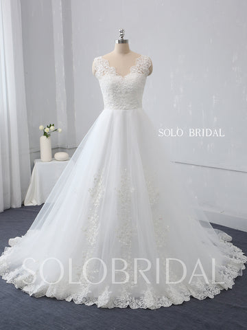 Ivory A Line Wedding Dress with Cotton Lace