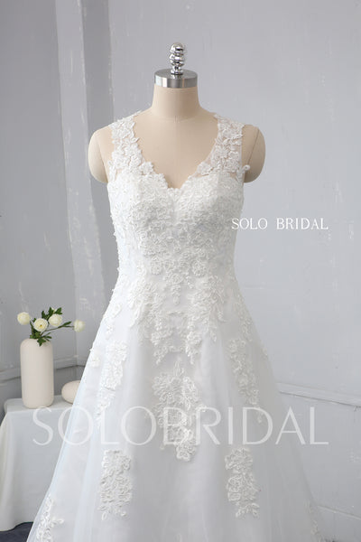 Ivory A Line Fitted Hip Design Heart Lace Back Wedding Dress