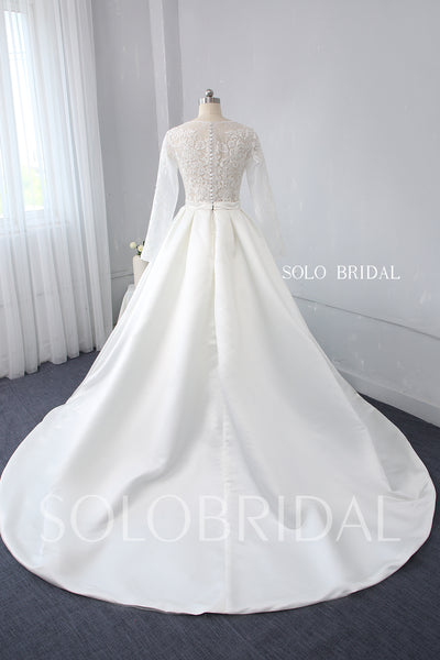 Ivory Lace Bodice with Long Sleeves Bridal Satin Skirt with Big Pleats Wedding Dress