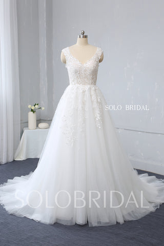 Ivory Tulle Wedding Dress with Cotton Lace