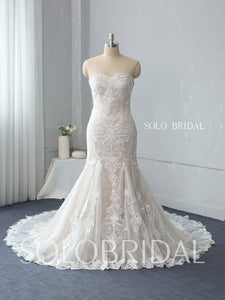 Strapless Fit and Flare Wedding Dress with Chapel Train