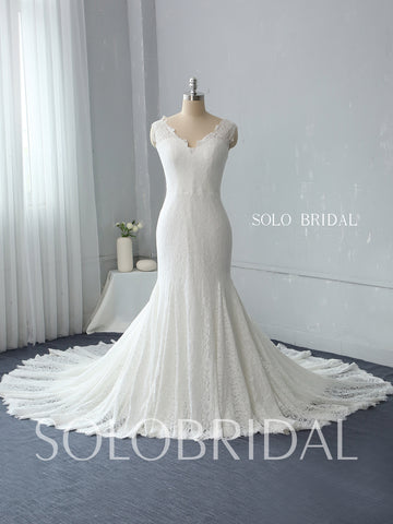 Fit and Flare Ivory Lace Wedding Dress with Cathedral Train