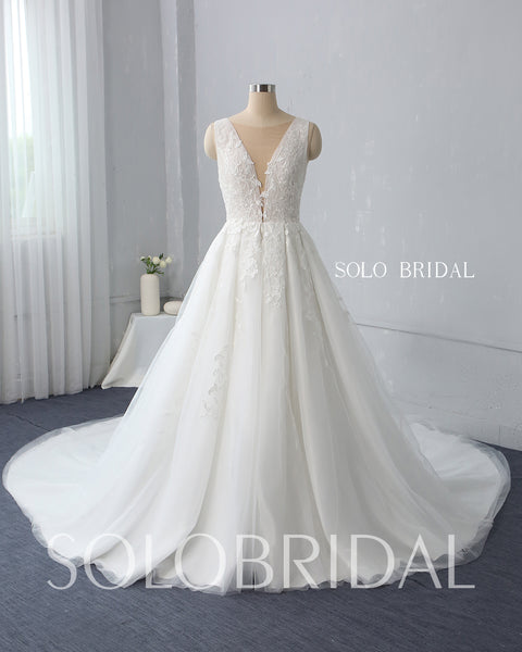A Line Plunging V Neck Wedding Dress with Cathedral Train
