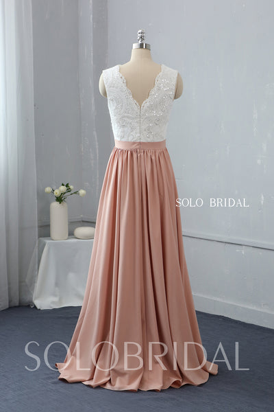 Sequin Lace V Neck Bridesmaid Dress