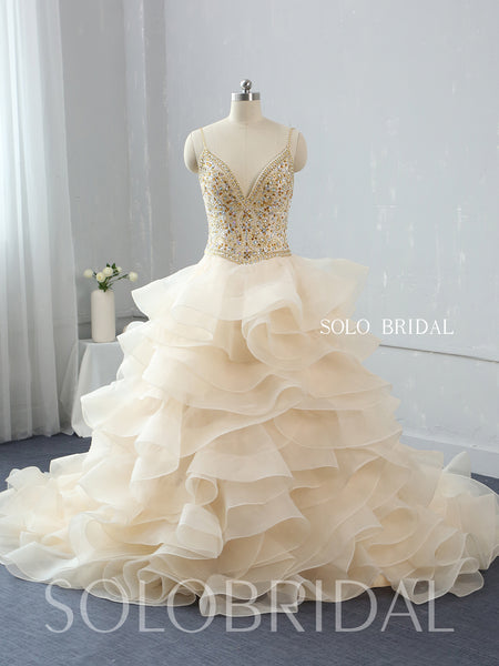 Light Champagne Ruffle Ball Gown Wedding Dress with Sweep Train