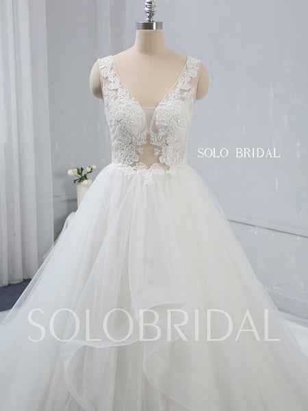 Deep V Neck Ivory Wedding Dress with Cathedral Train
