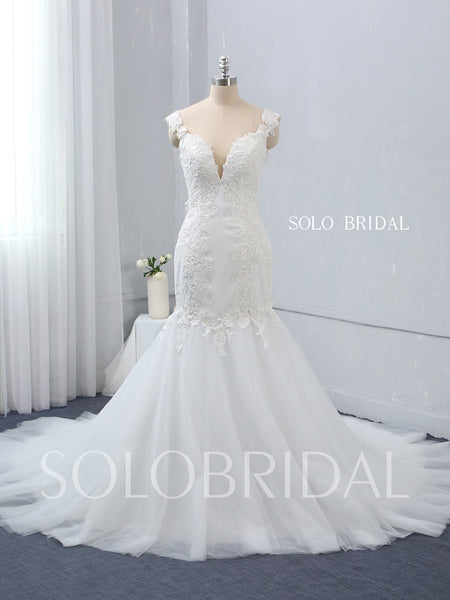 Skin Colour Bodice Mermaid Wedding Dress with Chapel Train