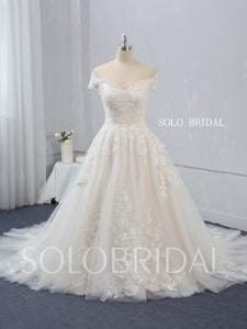 Champagne A line Wedding Dress with Court Train