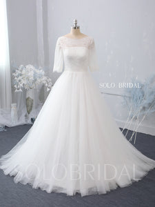 Ivory A line Wedding Dress with Sweep Train