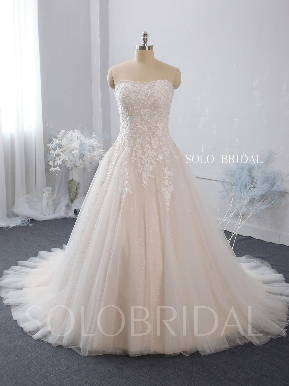 Strapless A Line Blush Wedding Dress with Court Train