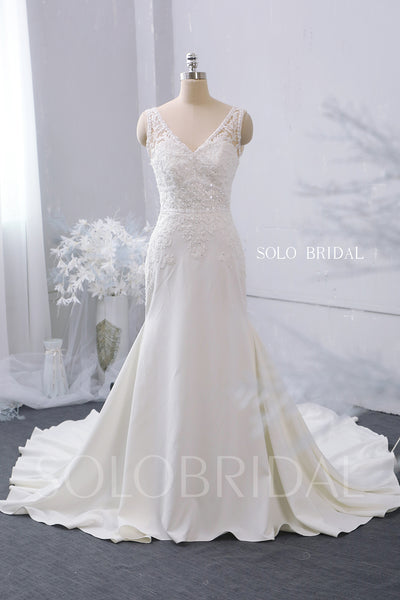 Ivory V Neck Fit and Flare Wedding Dress with Cathedral Train