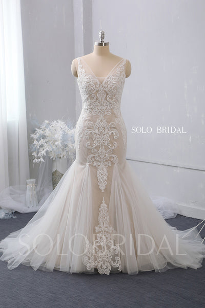 V Neck Fit and Flare Blush Wedding Dress with Court Train