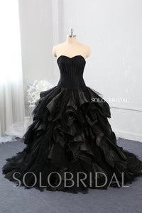 Black Strapless Sweetheart Ruffle and Embroidered Wedding Dress with Sweep Train