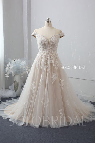 Off Shoulder A Line Wedding Dress with Chapel Train