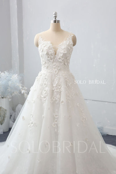 Ivory A line V neck 3D Flowers Wedding Dress with Chapel Train