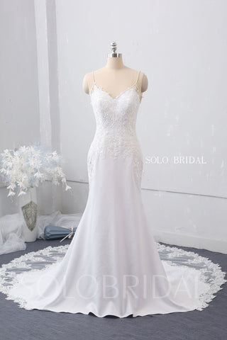 V Neck Fit and Flare Wedding Dress with Cathedral Train