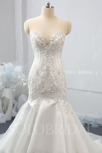 Mermaid Wedding Dress with Silver Embroidery and Cathedral Train
