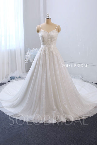 A Line Sweetheart Spaghetti Strap Wedding Dress with Cathedral Train and Sparkly Skirt