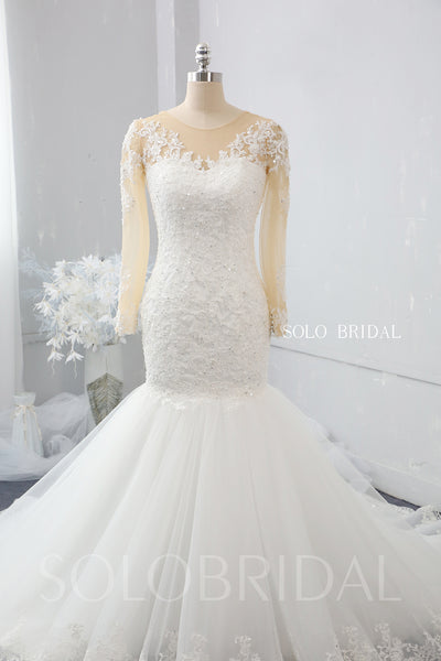 Ivory and Skin Colour Mermaid Wedding Dress with Chapel Train