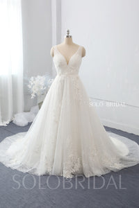 A Line 3D Feathers and Flowers V Neck Wedding Dress with Cathedral Train