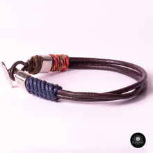 Load image into Gallery viewer, Braided Leather Cords (Blue/Brown)