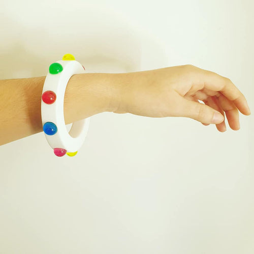 Jelly Delight white and translucent bangle