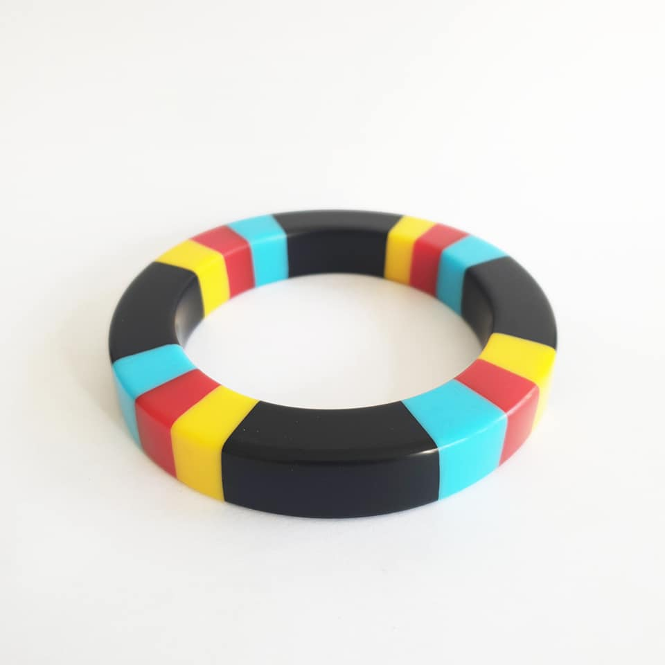Primary colour-block inlay bangle