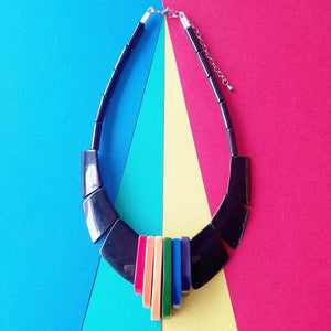 """Boogey nights"" reproduction 80s bakelite necklace in rainbow and black"