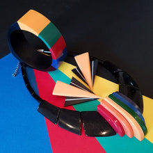 "Load image into Gallery viewer, ""Boogey nights"" reproduction 80s bakelite necklace in rainbow and black"