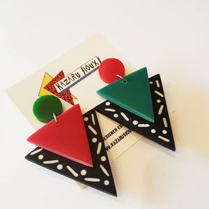 Memphis design style inlay dangle earrings in red and green MADE TO ORDER