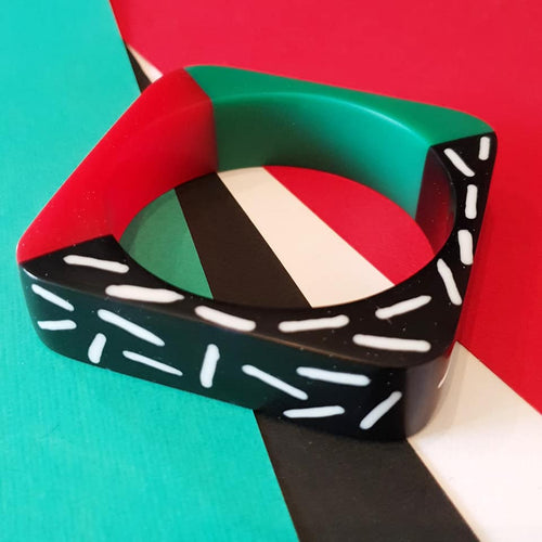 Memphis design dual colour bangle in red and green MADE TO ORDER