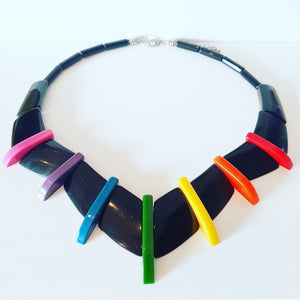 "MADE TO ORDER Rainbow and black New Wave ""fakelite"" retro-style necklace"