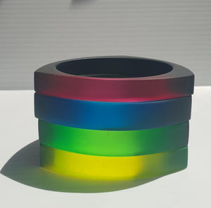 Black and translucent neon tri-bangle (select your colour)
