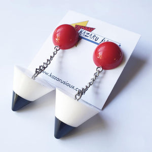 Post Modern black red and white stud dangle