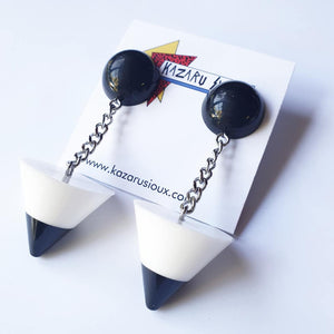Post Modern black and white stud dangle