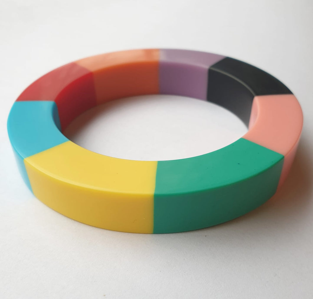 Multi colour block statement bangle