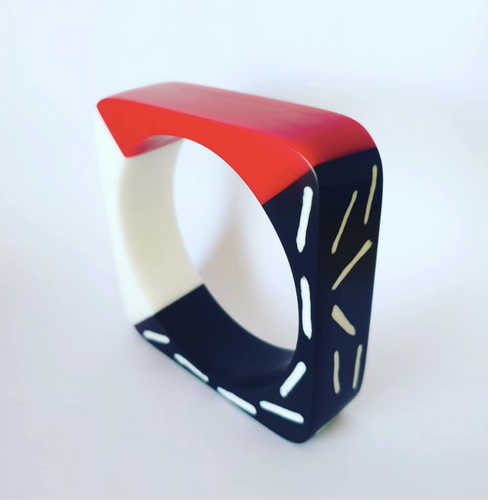 Memphis Milano inspired bangle in red black and white