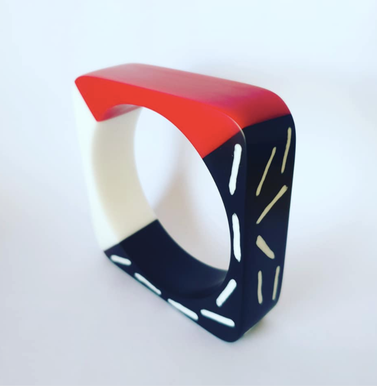 Memphis Milano inspired bangle in red black and white Made to order