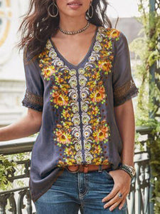 Short Sleeve Cotton-Blend Patchwork V Neck Shirts & Tops