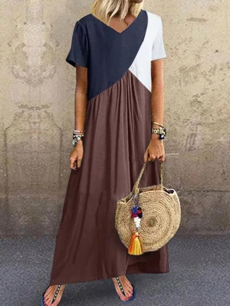 Color Block V Neck Plus Size Maxi Dresses