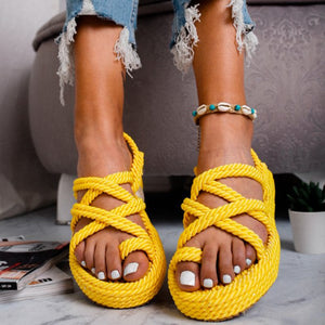 Women Criss Cross Lace-Up Casual Sandals