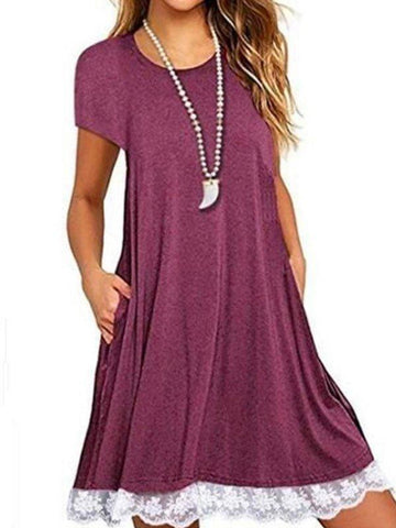 Plus Size Casual Short Sleeve V-neck Dress
