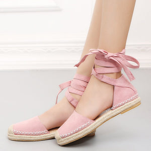 Artificial Suede Lace-Up Sandals