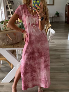 Short Sleeve Casual Cotton Maxi Dress